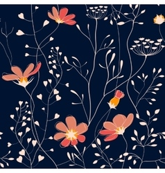Wild plants and flower seamless pattern vector image vector image