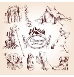 Camping sketch set vector image