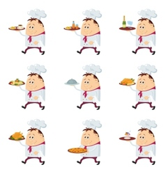 Cooks with trays set vector image vector image