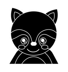 cute portrait raccoon animal baby vector image