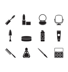 Silhouette cosmetic and make up icons vector image vector image