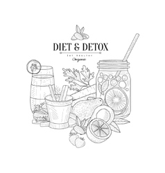 Detox and diet fresh food drink hand drawn vector