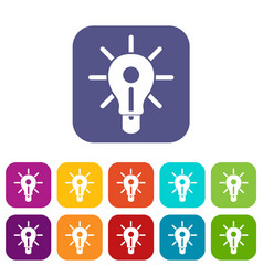 glowing light bulb icons set flat vector image vector image