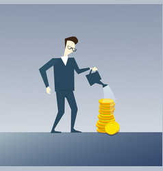 rich business man watering coin stack money growth vector image vector image