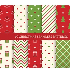 10 Christmas different seamless patterns Endless vector