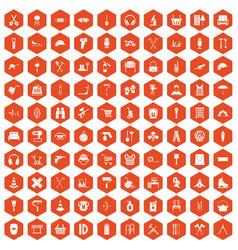 100 outfit icons hexagon orange vector