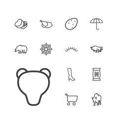 13 brown icons vector