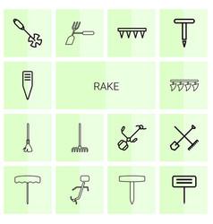 14 rake icons vector