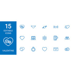 15 valentine icons vector