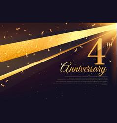 4th anniversary celebration card template vector