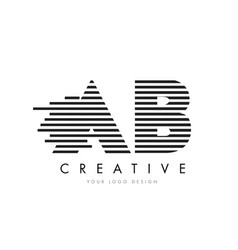 ab a b zebra letter logo design with black and vector image