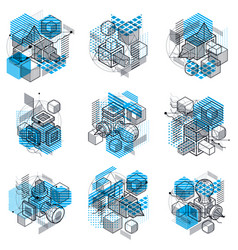 abstract designs with 3d linear mesh shapes and vector image