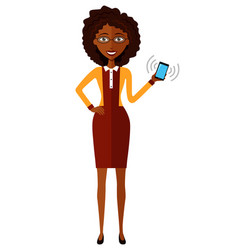 african american business lady with smart phone vector image