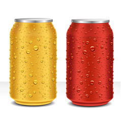 Aluminum cans ired and gold with many water drops vector