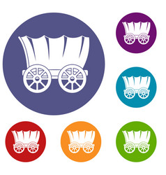 Ancient western covered wagon icons set vector