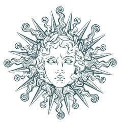 Antique style sun with face apollo vector