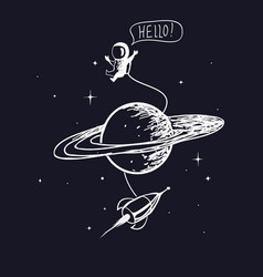 Astronaut with spaceship and saturn vector