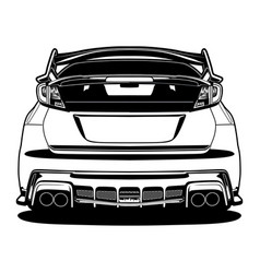 black and white car vector image