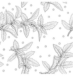 black and white seamless pattern holly ilex vector image