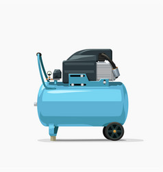 Blue air compressor side view on white vector