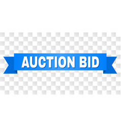 Blue ribbon with auction bid text vector