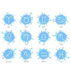 blue zodiac symbols set astrology signs vector image