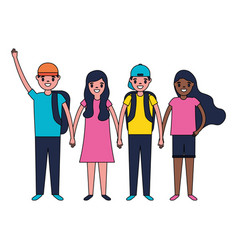 boys and girls group holding hands vector image
