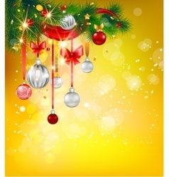 Bright holiday card with christmas tree vector image