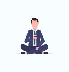 businessman sitting lotus pose young business man vector image