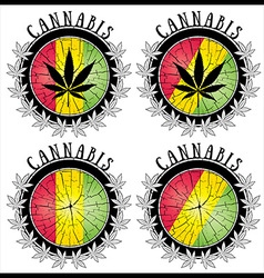 Cannabis leaf symbol jamaican colors stamps vector image