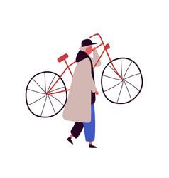 cartoon man in cap and cloak raising up bike vector image