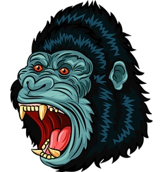 Cartoon of Angry gorilla head character isolated vector