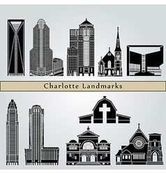 Charlotte landmarks and monuments vector image