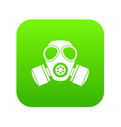 chemical gas mask icon digital green vector image