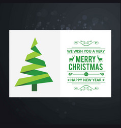 christmas card with tree and typographic vector image