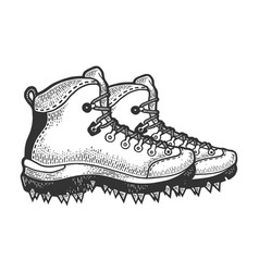 climber hiking boots with spikes sketch vector image