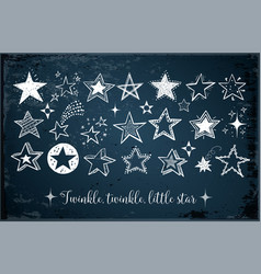 Collection of doodle stars on dark blue background vector