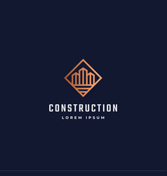 Construction abstract sign symbol or logo vector