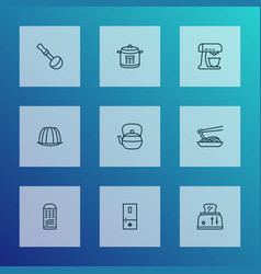 Cooking icons line style set with multicooker vector