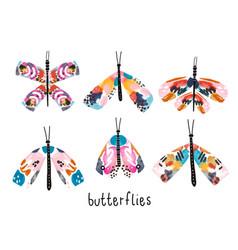 creative artistic watercolor set of moths vector image