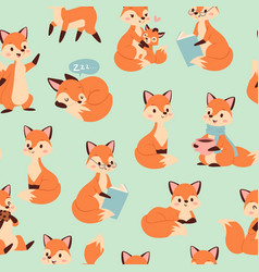 cute fox seamless pattern with foxy endless vector image