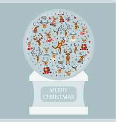cute reindeer sticker icon set snow globe design vector image