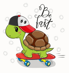 cute turtle with a red cap vector image