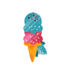 Delicious bright ice cream in waffle cone vector