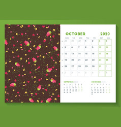 Desk calendar template for october 2020 week vector