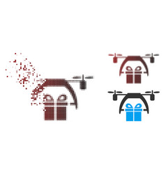 Disappearing pixel halftone gift drone delivery vector