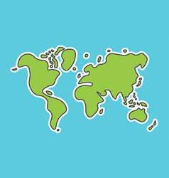 Doodle style world map look like children craft vector