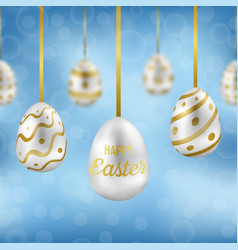 easter eggs on blue sky with bokeh effect seamless vector image