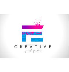Fe f e letter logo with shattered broken blue vector