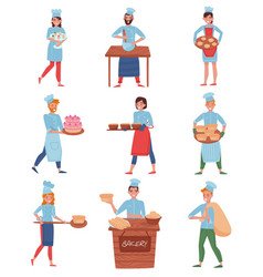 flat set of professional chefs or bakers in vector image